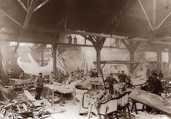 36. Construction of the Statue of Liberty in 1884