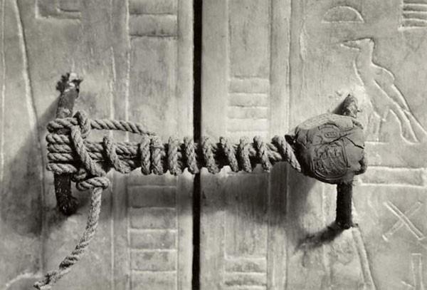 47. The unbroken seal on King Tut's tomb