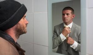 man homeless dream future success motivation change choice business work mindset