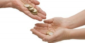 hand beg money parent grandparent kid give money help bank coin share