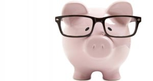 piggy bank borrow money save parent glasses stern lesson learn