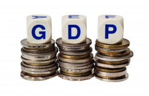 4731409 - stacks of coins with the word gdp isolated on white background