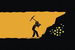 Man Digging And Mining Gold In An Underground Tunnel