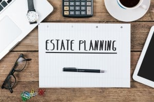 Estate Planning Text, Office Desk With Computer Technology, High