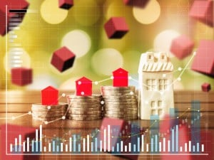 Mortgage Concept By Money House From The Coins,business Finance And Money Concept,saving Money Concept To Buy A House.