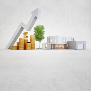 Modern House On Concrete Floor With White Copy Space Background In Real Estate Sale Or Property Investment Concept, Buying New Home For Big Family 3d Illustration Of Residential Building Exterior