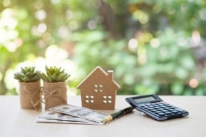 House Model With Pile Of Dollar Bills, Calculator, Pen And Plant Pots On Table With Garden Background For Business, Finance, Banking, And Saving Money.