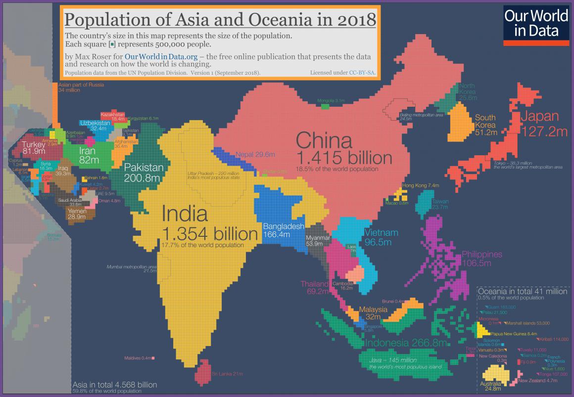 Population Cartogram Asia And Oceania