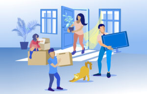 Happy Family With Cat Moving To New Home Cartoon