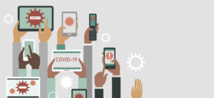Panic Of Covid 19 Outbreak Concept. Human Hands Holding Various Smart Devices With Coronavirus Alerts On Their Screens.