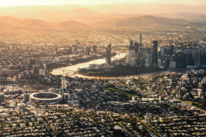Golden Glow View Of Brisbane From Above